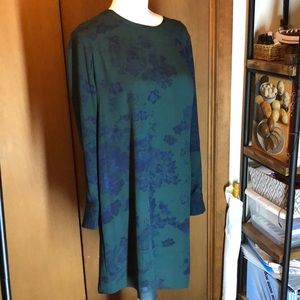 BCBG Ashton dress in green and navy floral pattern